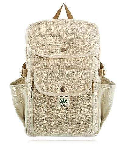 100% PURE Hanf Laptop Rucksack NEU / Tasche / Daypack mit Laptop-Hülle aus Nepal, Unisex (braun)   BeHemppy