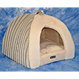 nanook Hunde-Höhle Katzen-Höhle BELLA, für kleine Hunde und Katzen, Größe S (45 x 45 cm), Plüsch, gestreift
