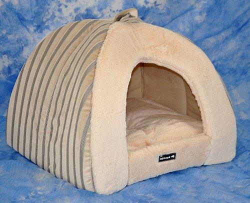 hundeinfo24.de nanook Hunde-Höhle Katzen-Höhle BELLA, für kleine Hunde und Katzen, Größe S (45 x 45 cm), Plüsch, gestreift