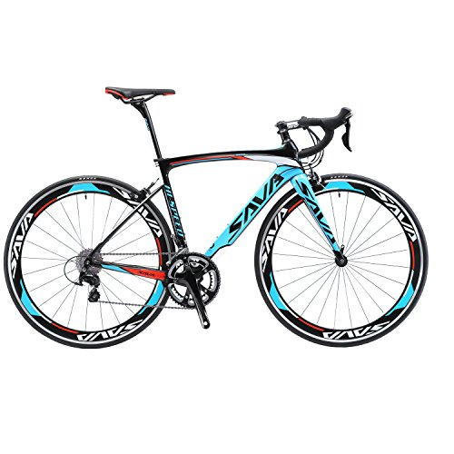 SAVADECK Rennrad, Warwind3.0 700C Carbon Rahmen Fahrrad mit Shimano SORA 18-Fach Kettenschaltung und Doppel-V-Bremse (Blau, 52cm) -
