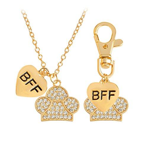 Lureme Schön BFF Bester Freund für immer Hund Haustier Tier Schlüsselbund Tag und Halskette-Gold (nl005674-1)
