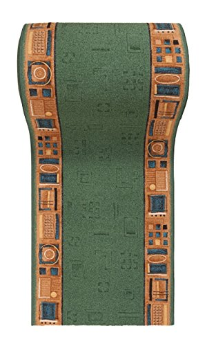 """Läufer Teppich Flur - Modern Muster - Rückseite aus Gummi Anti-Rutsch - Kurzfloor Teppichläufer nach Maß - """" GEL-MAX """" Kollektion Grün Beige 100 x 500 cm"""