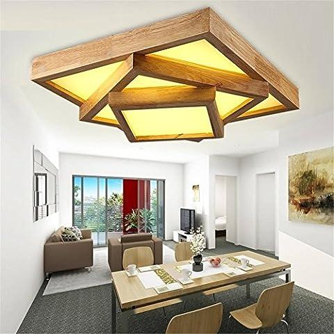 Modylee Legno ha portato soffitto salotto moderno e minimalista camera da letto di pelle di pecora moderno tatami promessa rettangolare luci dimmerabili lampada sul comodino di legno e lampade da tavolo tubo , 48*48