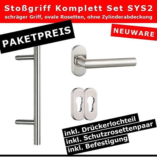 ToniTec® Türgriff Stoßgriff Set komplett schräge Ausführung ovale Rosetten 400mm (Oval-rosette-set)