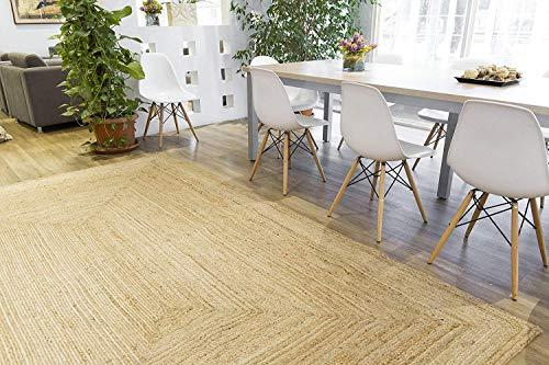 Rugsite 100% Jute Medium Rechteck Teppich, 120x 180cm. Natur Geflochten Flor. American Style. Küchen, Wintergärten - Jute-teppich Oval