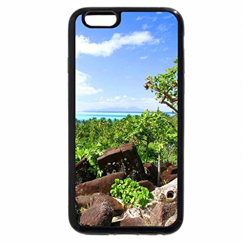 iPhone 3S/iPhone 6Coque (Noir) Vieil arbre Surplombant Palm Clad Plage-Bora Bora Paradise Island