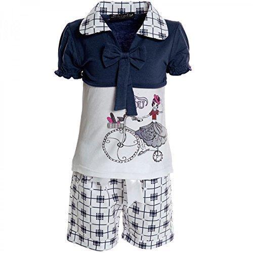 Kinder Mädchen Freizeit Kurzarm Shirt Jogging Hose Outfit 2tl Set Kleidung 20468, Farbe:Blau;Größe:128