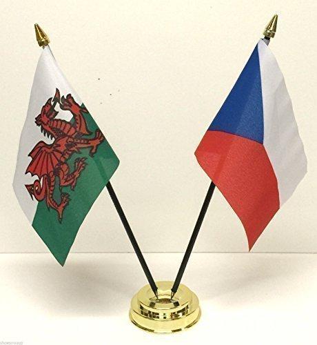 Wales Cymru &Czech Republic Doppel-Freundschaft Tabelle Flag Basis Set -