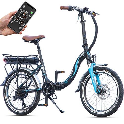 Bluewheel klappbares E-Bike BXB55 - 20 Zoll Pedelec mit Smartphone APP E-Citybike mit 250W Bafang Heckmotor 36V 13Ah Akku, Shimano Gangschaltung, Scheibenbremse, E-Klapprad bis 24 km/h Elektro-Fahrrad (Schwarz)