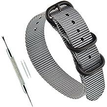 21mm banda de correa de reloj de nylon militar ZULÚ la correa de muñeca gris para los hombres diver