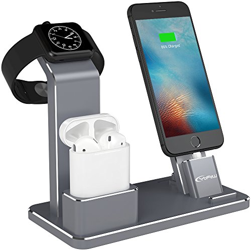 YFW Aluminium 4 in 1 Airpods Zubehör Apple Watch Ständer iPhone Docking Station für Apple AirPods / Apple Watch Series 2/ 1 / iPhone 7 7 Plus 6s 6 Plus 5s iPad, Frei zwei Aufladen Kabel (Eisengrau)