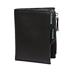 Bogesi Mens Wallet Purse Bifold Casual Black Solid Leather Wallets Multi Pocket