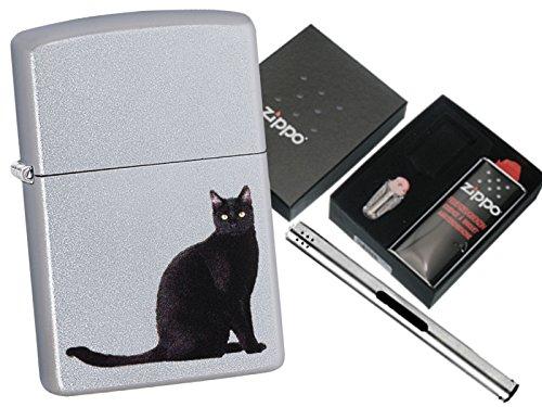 Zippo Black Cat Sitting mit Zippo Geschenkset und L.B Chrome Stabfeuerzeug (Black Chrome Zippo)