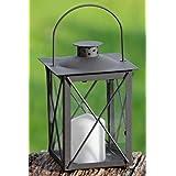 Laterne Windlicht Farol Grau Schwarz hauteur de jardin Höhe ca 20 cm Glas montiert - ohne Kerze Landhaus