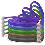 1aTTack.de 1,5m - 5 Colori (02) - Cavo di Rete Ethernet Cat6 Piatto LAN Gigabit RJ45 Cat 6 Compatibile Cat5 Cat5e Cat7 Cat8
