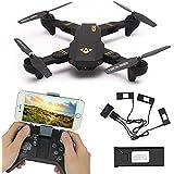 flypro visuo xs809hw plegable RC Quadcopter Drone Set con 2MP 120° Campo de visión amplio cámara + 3PCS pilas + 1cargador de batería + extra 2Paris Propeller