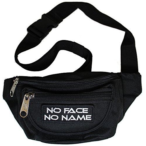 Bauchtasche No Face No Name Gürteltasche mit drei Fächern und abnehmbaren Patch in schwarz Jacke Patch-bike