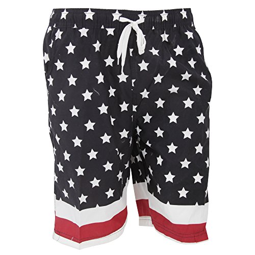 Soulstar Byte - Short de bain à motif étoiles - Homme Noir/Blanc/Rouge