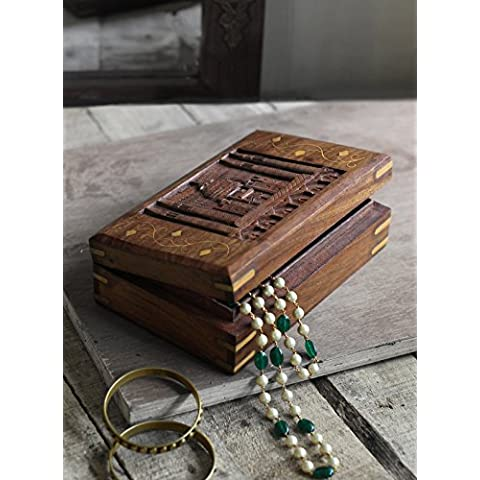 Splendidamente intagliato mano dei monili di legno Keepsake casella cassa