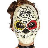 Guirca- Careta Día de muertos para Halloween, Color marfil, talla única...
