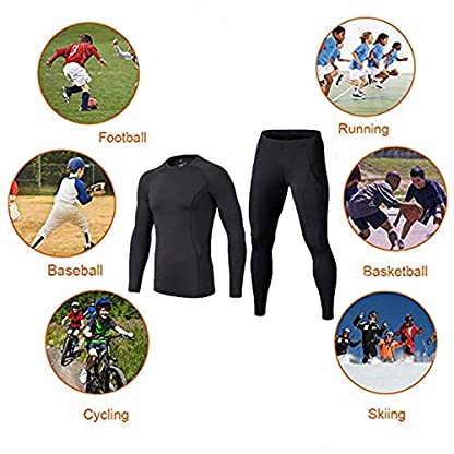 BUYKUD Kids' Boys Long Sleeve Base Layer Compression Underwear Athletic Shirt Tights Top & Bottom Set 7