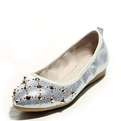 BalaMasa Girls Punk Studded Rivet Pull-On Silver Soft Material Pumps-Shoes - 5.5 UK