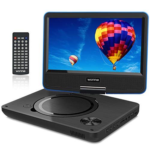 """WONNIE 9.5"""" Tragbarer DVD-Player drehbares HD Display 4 Stunden Akku, Unterstützt USB/SD Slot, AV Out/IN, mit 1.5M Auto-Ladegerät und Stromadapter (Blau)"""
