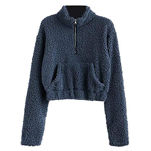 AMUSTER Damen Cropped Sweatshirt Plüsch Sweatshirt mit Stehkragen Pullover Reißverschluss Lose Plüsch Sweatshirt Pullover Bluse -