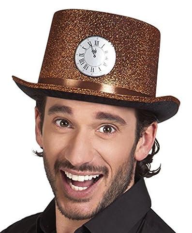 erdbeerclown - Hut Kostüm Kappe Kopfbedeckung Silvester Uhr, Braun (Deutschen Offizier Hut Kostüm)
