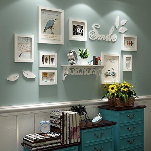 Preisvergleich Produktbild HJKY Photo Frame Wall Set Eine idyllische kleine hölzerne Wand Bilder frischen modernen minimalistischen Zimmer Wohnzimmer mit Vitrinen Kombination aus Frame Wand, all-white box (das Bild als