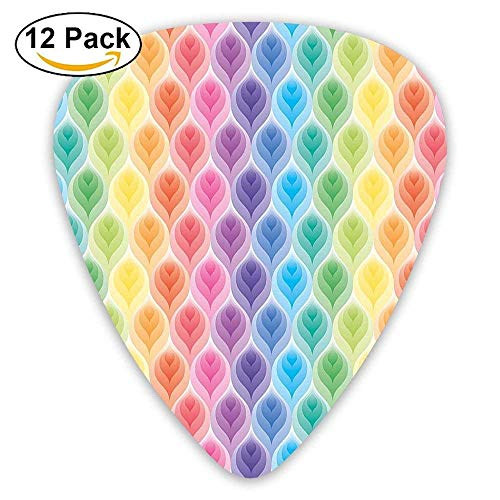 Rainbow Colors Abstract Gradient Toned Leaf Pattern Digital Soft Pastel Design Guitar Picks 12/Pack Set