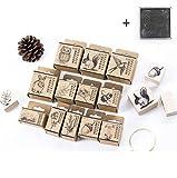 COIN Holz Stempel 12-Teilig Original Stempelset Gummi mit Stempelkissen(Schwarz) Gummi für DIY Bastelbedarf, Pflanze/Tier/Insekt Motiv