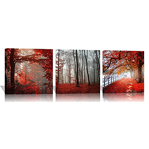Spirit Up Art 3 Pieces Red Forest Pictures Canvas Wall Artwork Giclee  Prints 12 By 12Inch Stretched And Framed Modern Home Decor Paintings For  Living Room ...