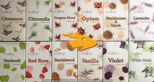 12Stück Räucherkegel Zimt, Citronella, Drachenblut, Weihrauch und Myrrhe, Lavendel, Opium, Patchouli, rot rose, Sandelholz, Vanille, Veilchen, weißer Moschus. 15Kegel pro 180Stück insgesamt. (Rose Home Fragrance)