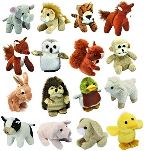 Set Jungle, of 16 Mini Jungle, Set Farm and Woodland Animal Soft Cuddly Toys (all ages) 58da60