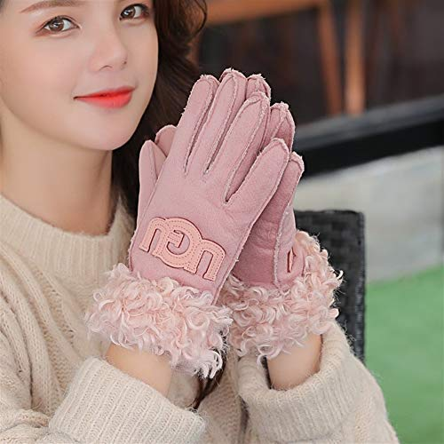 Handschuh Wildlederhandschuhe Ladies Plus Velvet Thick Warm Winter Kalt Riding Points Baumwollhandschuhe (Color : Pink, Size : One Size) Pink Womens Handschuh