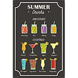 Summer drinks tafel, schild aus blech, smoothies, cocktails, cosmopoliton, mojito, margarita, blue lagoon, bloody mary