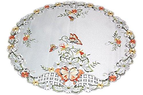 Mitteldecke Creme Schmetterlinge Orange Gestickt Tischdekoration Frühling (Mitteldecke 60 cm rund) ()