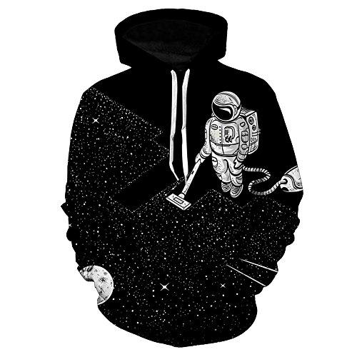 iBaste Felpa con cappuccio pullover astronauti stella felpa maglione con cappuccio moda stampa digitale Nero