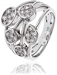 0.90CTS Certified G/VS2 Brilliant Cut Crossover Ring With Pear & Round Clusters in 18k White Gold