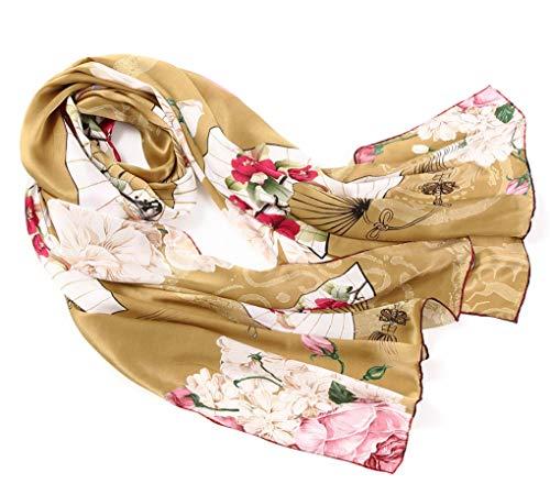 prettystern 180cm Langer Elegante Damen 100% Seidenschal Orientalische Element - Maske Fächer Schmetterling Zsc1009 -