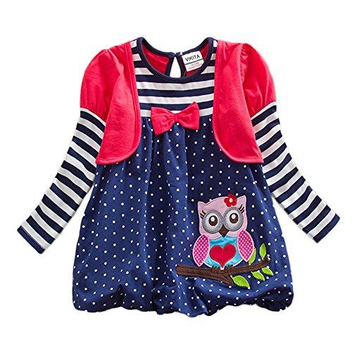 VIKITA Mädchen Bunt Print Stickerei Langarm Baumwolle Freizeit Kleid EINWEG LG006Rot 7T
