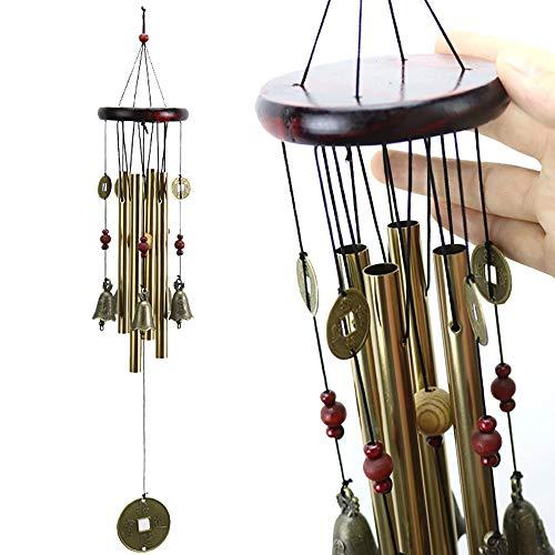 Carillon à vent en métal style classique à suspendre 4 tubes, 5 cloches, carillon à vent en bois fait à la main pour l'intérieur de jardin, maison, avec des pièces de monnaie chinoises magiques