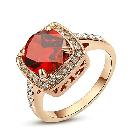 Yoursfs Halo Ring Ruby Diamond Rings for Women Red Stone Engagement Ring Dress Fashion Jewellery Lady 18ct Rose Gold Plated Crystal Statement Cocktail Rings