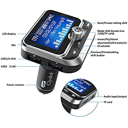Bluetooth-FM-Transmitter-Clydek-Universal-FM-Transmitter-Radio-Adapter-Audio-Empfnger-Car-Kit-mit-Fernbedienung-Dual-USB-Ladegert-und-Freisprechfunktion-18-Zoll-Grobildschirm