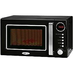 Clatronic MWG 790 - Microondas con grill 20 litros, 700/1000 W, display digital, 9 programas automáticos, timer, serie Rock&Retro estilo vintage, color negro