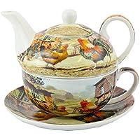 Estilo Art Deco taza de porcelana fina, diseño de tetera y platillo de gallo y gallina