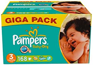 Pampers - 81329809 - Baby Dry Couches - Taille 3 - Midi 4-9 Kg - Gigapack x 168