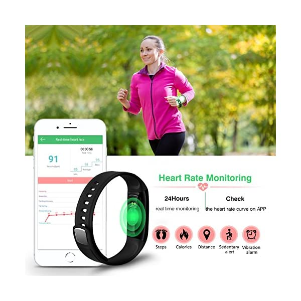 Pulsera de Actividad, ELEGIANT Reloj Inteligente Bluetooth 4.0 Monitor de Hombre Mujer IP67 Brazalete de OLED Pantalla Análisis de Calorías y Dormir Compatible para Android iOS Negro 2