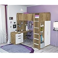 Preisvergleich für Polini Kids Kinder Etagenbett Hochbett Kombination 5 in 1 in Verschiedenen Farben